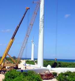 Montaje campo eolico gibara