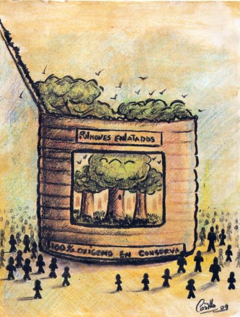 Pulmones enlatados. pintor y caricaturista cubano. Ha participado en innumerables festivales, ferias, concursos, bienales, y salones en todo el mundo. Además de Cuba, sus obras han sido expuestas en países como España, Brasil, Rumanía, Grecia, Serbia, Perú, Irán, Siria, Tirquía, Italia, y México. El autor ironiza usando los mismos productos consumistas del ser humano, la industrialización y su impacto en la preservación del medio ambiente. La lucha por el aire puro en contraposición a la deforestación y contaminación que provoca el sistema industrializado de las fábricas o las mismas ciudades, es la principal denuncia en la obra que presentamos.