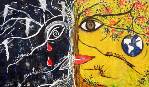 """""""Entre la Luz y la Sombra"""", un mural de Ileana Gutiérrez Quevedo. Restituir los derechos del ser humano, viendo cómo su mundo puede ser renovado. Según sus acciones, podrá obtener el mundo que quiera: la luz o la sombra."""